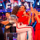 Katya Jones and Joe McFadden celebrating their triumph