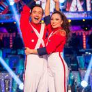 Katya Jones and Joe McFadden with the glitterball trophy