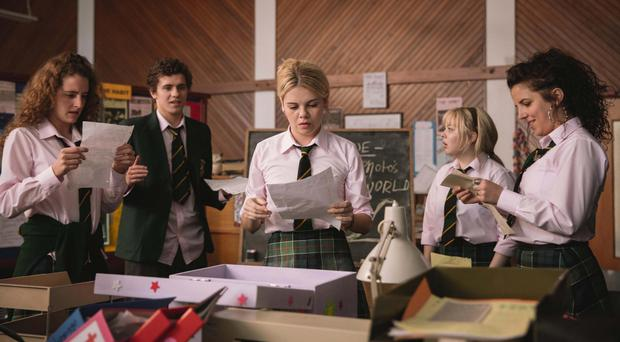 Derry Girls actors (from left) Louisa Harland, Dylan Llewellyn, Saoirse Jackson, Nicola Coughlan and Jamie-Lee O'Donnell