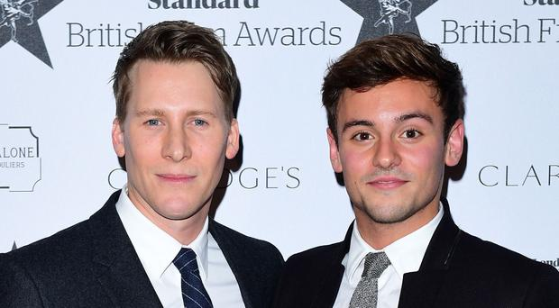 Dustin Lance Black and Tom Daley on the red carpet