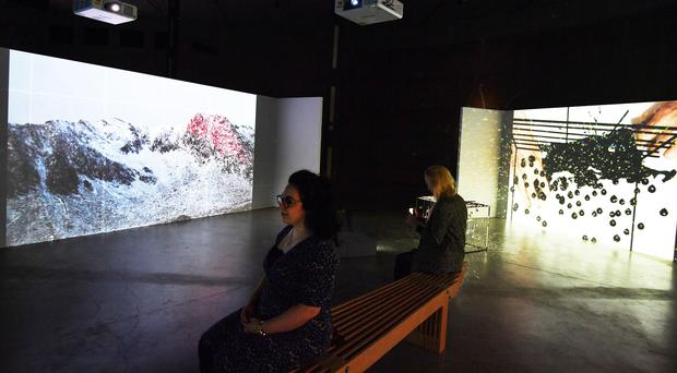 Videos by artist Joan Jonas are played during the press preview at the Tate Modern (John Stillwell/PA)