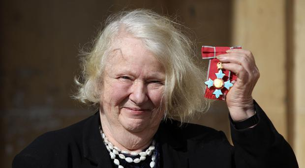 Artist Gillian Ayres with her CBE (Lewis Whyld/PA)