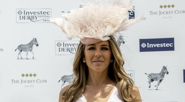 Elizabeth Hurley during derby day of the 2018 Investec Derby Festival at Epsom Downs Racecourse.