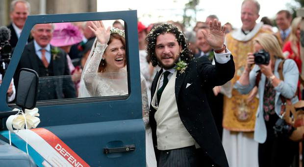 Kit Harington and Rose Leslie at Rayne Church in Aberdeenshire after their wedding