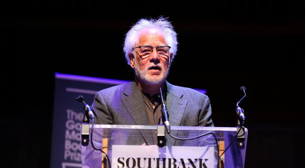 Canadian-Sri Lanka author Michael Ondaatje speaks after being named the winner of the Golden Man Booker for his novel 'The English Patient' at the Royal Festival Hall, Southbank Centre, in London. PRESS ASSOCIATION. Picture date: Sunday July 8, 2018. Photo credit should read: Isabel Infantes/PA Wire