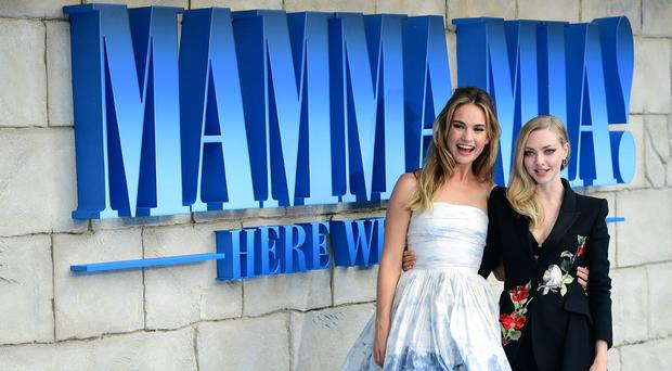 Lily James and Amanda Seyfried at the premiere of Mamma Mia! Here We Go Again (Ian West/PA)