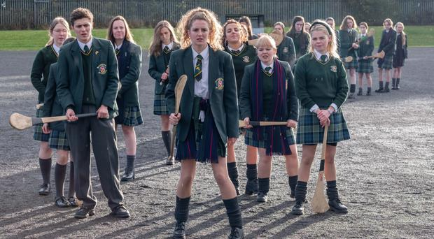 James (Dylan Llewellyn), Orla (Louisa Harland), Michelle (Jamie-Lee O'Donnell), Clare (Nicola Coughlan) and Erin (Saoirse-Monica Jackson) in the second episode of Derry Girls
