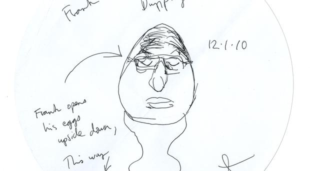 A portrait of 'Frank Eggs-ellent Dunphy', one of 73 placemats with sketches by Damien Hirst (British Museum/PA