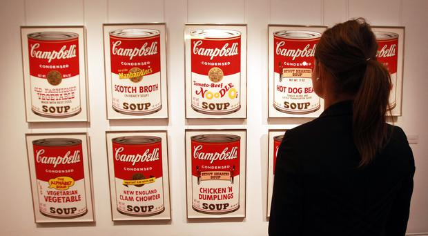 A set of Andy Warhol's Campbell's Soup Can screenprints at the Sotheby's auction rooms in London (Sean Dempsey/PA)