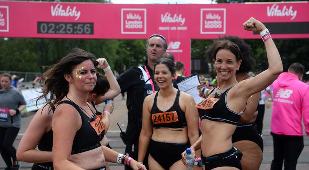 Anna Harding and Andrea McLean after running the Vitality London 10000 (Kirsty O'Connor/PA)