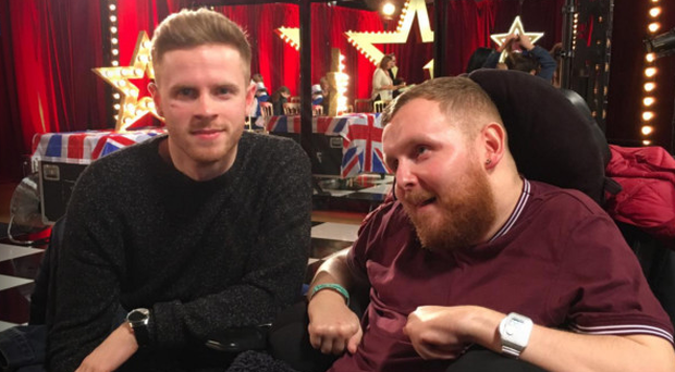 Singer Mark McMullan with his brother Declan at Britain's Got Talent