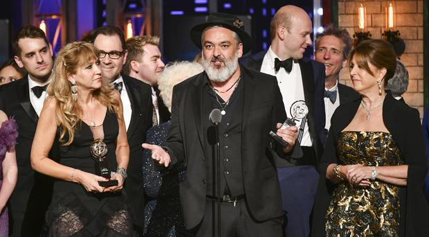 Jez Butterworth, and the company of The Ferryman, accept the award for best play at the 73rd annual Tony Awards (Photo by Charles Sykes/Invision/AP)