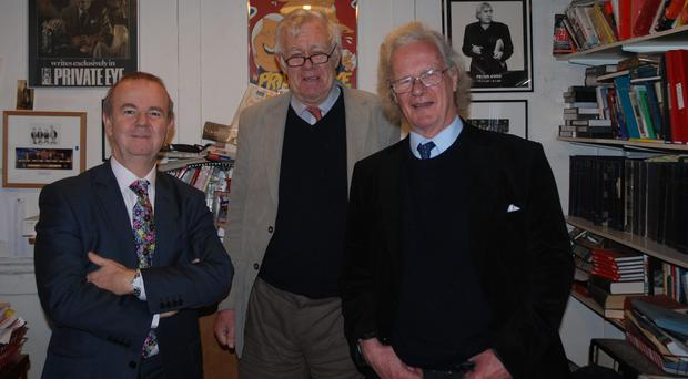 Christopher Booker (right) with Ian Hislop (left) and Richard Ingrams (Private Eye/PA)