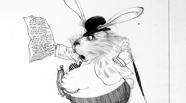 Original drawing for Alice In Wonderland of the White Rabbit, 1967 (Ralph Steadman Art Collection, 2019)
