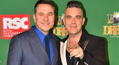 David Walliams and Robbie Williams attending the opening night of the Boy In The Dress at the Royal Shakespeare Company in Stratford Upon Avon (Jacob King/PA)