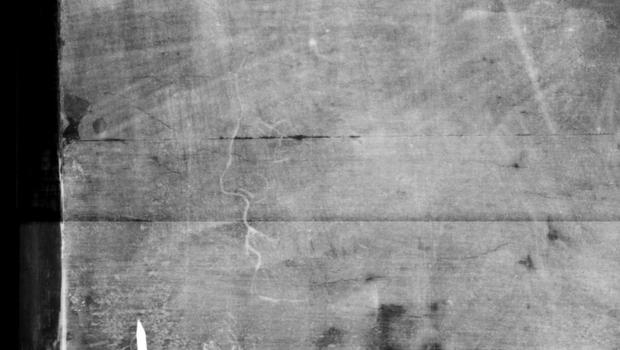 An x-ray of a doodle believed to have been made by Botticelli. (BBC)