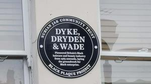 The black plaque to commemorate three haircare businessmen (Nubian Jak Community Trust/PA)