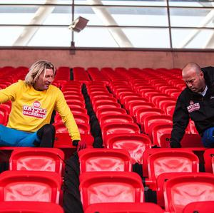 Robbie Savage and Alan Shearer went head to head in the Sport Relief Battle of the Backsides (Comic Relief/PA)
