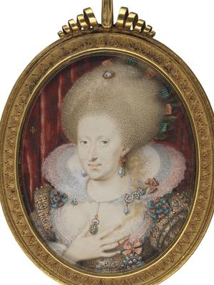 Anne of Denmark by Isaac Oliver, 1612 (National Portrait Gallery, London)