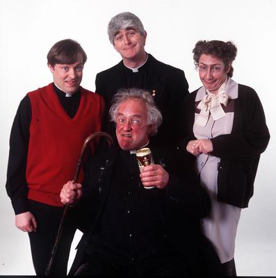 Frank Kelly with his fellow cast members from Father Ted — Ardal O'Hanlon, Dermot Morgan and Pauline McLynn