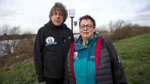 Jo Brand was joined by Alan Davies for the second day of her 150 mile walk from Hull to Liverpool