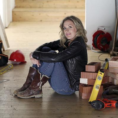 Sarah Beeny on the set of her new show Double Your House For Half The Money