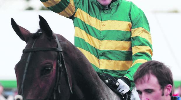 Tony McCoy after victory in the Weatherbys Novices Hurdle at Towcester Racecourse, Northamptonshire.