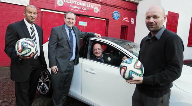 Top gear: Wayne Taylor of SMW Volvo, Belfast Telegraph's Steven Beacom, Cliftonville manager Tommy Breslin, last year's Volvo Coach of the Year, and Stewart Reid of Greers Volvo remind readers that voting closes on December 1