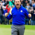 Get in there: Graeme McDowell celebrates victory at the 2014 Ryder Cup
