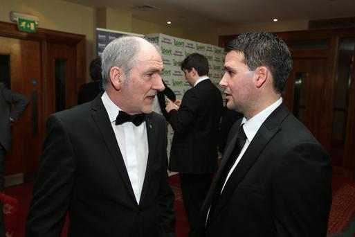 Fame game: Tyrone GAA manager Mickey Harte, who was inducted into the Belfast Telegraph Hall of Fame last year, chats with this year's inductee, Northern Ireland's record goalscorer, David Healy