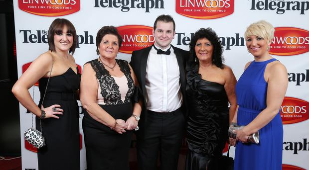 Family affair: Joey Dunlop's daughter Joanne, wife Linda, Michael McCammond, Eunice Coates and Donna McLean (also a daughter of Joey) at the Belfast Telegraph awards