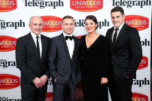 Barry McGuigan, Carl Frampton, Christine Frampton and Shane McGuigan make a formidable team last night