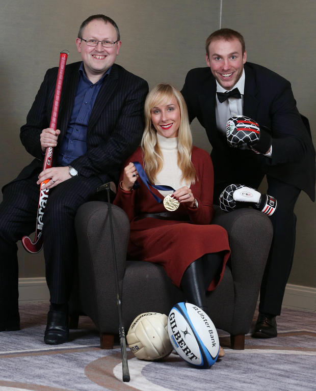 Belfast Telegraph Sports Editor Steven Beacom, Sarah Shimmons, Linwoods Head of Marketing and title sponsor of the 2015 Belfast Telegraph Sports Awards and Stephen Ferris, former Ulster, Ireland and British Lions rugby player encourage readers to vote for their top 10 sporting moments of all time.