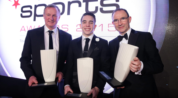Winners: Michael O'Neill and Michael Conlan with Martin O'Neill at last year's ceremony