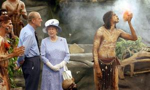 "40. ""Do you still throw spears at each other?"" Prince Philip shocks Aboriginal leader William Brin at the Aboriginal Cultural Park in Queensland, 2002."