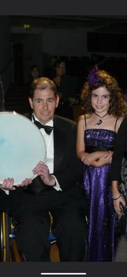 Lauren Leckey and dad Trevor at a formal in 2008 where he won businessman of the year