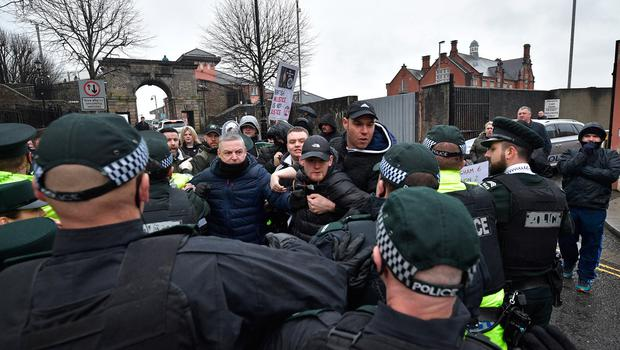 Protesters show their support for  Paul McIntyre outside Londonderry Magistrates Court as the 52-year-old from Derry, appears in court charged with the murder of Lyra Mckee on February 13, 2020 in Londonderry, Northern Ireland. (Photo by Charles McQuillan/Getty Images)
