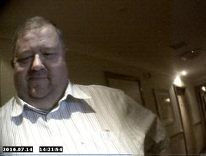 Ross Hussey talking to an undercover Sunday Life reporter at the Ramada Hotel, Shaws Bridge. He had arranged to meet the reporter for sex after sending naked images of himself and filthy messages via a sleazy  sex website.