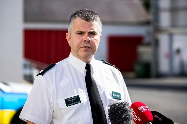 Temporary Superintendent Clive Beatty, who is the PSNI District Commander for Fermanagh and Omagh District, at a press conference in Enniskillen Police station. Photo credit: Liam McBurney/PA Wire