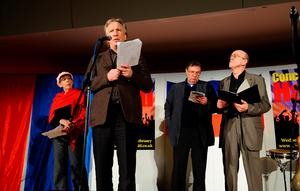 2010: Frances de la Tour, Alan Rickman, Tom Wilkinson and Andy de la Tour perform at the Concert For Haiti, sponsored by the TUC, at Congress House in London.  Rickman has died from cancer aged 69, his family said.  Ian West/PA Wire