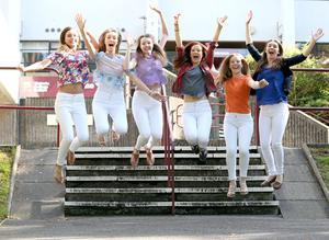 PACEMAKER, BELFAST, 13/8/2015: Jumping for joy!  Victoria College students Chloe Haylett, Ellen Beattie, Kathryn Shane, Jane Maguire, Kirsty Carruthers and Rachel Milligan achieved 9 A* and 12 A grades in their A Level results today. PICTURE BY STEPHEN DAVISON