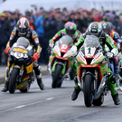 Power surge: Glenn Irwin (Quattro Plant Kawasaki) on his way to winning the Anchor Bar Superbike race at the 2019 North West 200