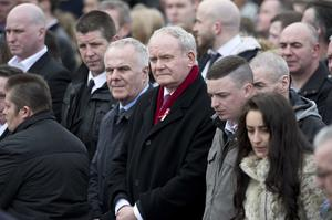 PACEMAKER BELFAST   24/03/2016 The funeral of the five Buncrana pier victims takes place at Holy Family Church, Ballymagroarty on Thursday. The victims were Ruth Daniels, her 14-year-old daughter Jodie Lee Daniels, her son-in-law Sean McGrotty, and his sons Mark, 12, and Evan, eight.  The only survivor was Mr McGrotty's four-month old daughter, Rionaghac-Ann. They died after their car slid off a pier in Buncrana County Donegal last Sunday night. Pictured is Martin McGuinness. Photo Mark Marlow/Pacemaker Press