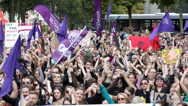 Press Eye - Belfast - Northern Ireland - 7th September 2019 -  General view of the Rally for Choice in Belfast City Centre. Photo by Declan Roughan / Press Eye.