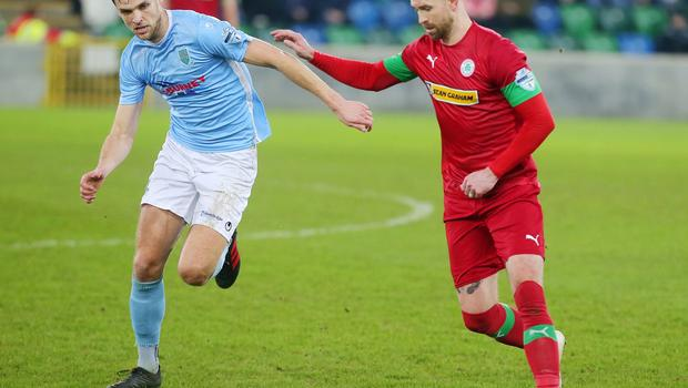 County Antrim Shield Final -  Windsor Park.  21.01.20  Cliftonville FC vs Ballymena United  Cliftonville's Garry Breen with Ballymena's Adam Lecky  Mandatory Credit ©INPHO/Jonathan Porter