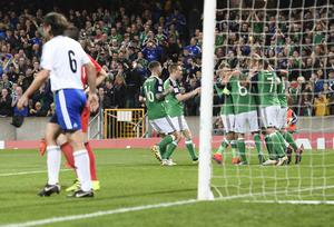 Northern Ireland's Steve Davis  scores a penalty during this evenings game at the National Stadium in Belfast. Photo Colm Lenaghan/Pacemaker Press