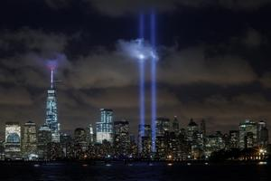 JERSEY CITY, NJ - SEPTEMBER 10:  The World Trade Center Tribute in Lights  is seen from Liberty State Park on September 10, 2014 in Jersey City New Jersey. Tomorrow marks the 13th anniversary of the 9/11 terrorist attacks that claimed the lives of 2,996 people in New York City, Washington, DC and a field in Shanksville, Pennsylvania.  (Photo by Kena Betancur/Getty Images) *** BESTPIX ***