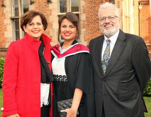 Mandatory Credit - Picture by Freddie Parkinson/Press Eye © Thursday 8th December 2016 Graduations take place at Queens University in Belfast. Annoushkee Bayat and her parents Zeenat and Glen