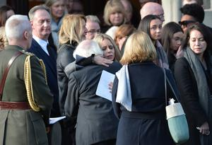 Pacemaker Press  14/1/2019 Wife Kerry with Michael D Higgins  during the Funeral of Dr Ian Adamson at Clonlig Presbyterian Church on Monday. Pic Colm Lenaghan/ Pacemaker