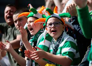 Celtic fans sing in the stands during the Ladbrokes Scottish Premiership match at Tynecastle Stadium, Edinburgh. PRESS ASSOCIATION Photo. Picture date: Sunday April 2, 2017. See PA story SOCCER Hearts. Photo credit should read: Andrew Milligan/PA Wire. EDITORIAL USE ONLY